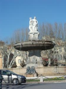 The city center fountain in Ax en Provence.