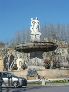 The city center fountain in Ax en Provence.
