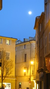The moon was so beautiful on the streets of Ax en Provence.
