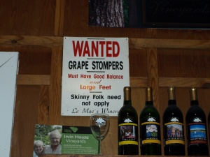 A sign hanging on the wall at Irvin Winery.