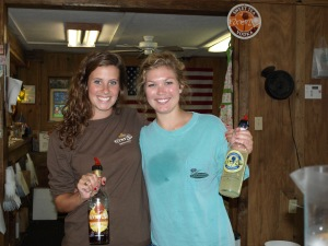 The girls pouring for us at the Firefly Distillery