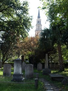 The churches and sometimes houses have graveyards besides them.