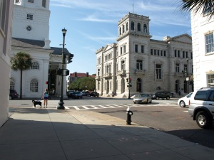 The Four Corners of Law, on the left City Hall ( law of the city), on the right County Courthouse (law of the county), diagonal to the right is the United States Post Office and Courthouse (law of federal) and then across the street to the left St. Michael's Church (law of God).