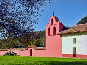 La Purisima Mission in Lompoc, Ca. This is a large mission with great walking trails, fountains and farmland.
