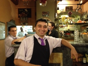 Bledy our waiter at Trattoria Al Trebbio in Florence. He was so friendly and the food was so good we ate there twice.