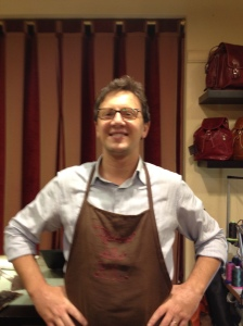 Salvatore at Officina Della Pelle in Lucca. He makes custom leather items. You can find him at www.leathermadeinitaly.com. He has great items and is very helpful and friendly. I recommend this shop and the town of Lucca.