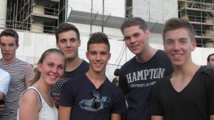 Group of teenagers from Belgium that were standing with us waiting for the Pope to speak.