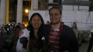 Sarah and Marco from Italy. They translated for us when the Pope was speaking. Very sweet couple.
