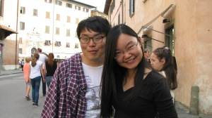 Couple we met in Pisa. They had just met each other traveling alone thru Europe. One was from South Korea and the other from China. We saved them from a horrible lunch in Pisa.