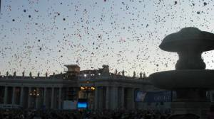 After the Pope came out and said the prayer, the crowd released the thousands of balloons. This was so beautiful at dusk, surrounded by thousands of people. People were singing in Italian and in English too. We were fortunate to be there that day.