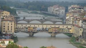 Vecchio bridge is the colorful bridge. No cars go over this bridge. There is very nice jewelry shops on the bridge.