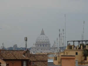 Our first day in Rome and we were in search of the Spanish Steps. This is my first view of St. Peter's Basilica.