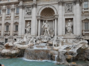 Trevi Fountain, Rome Italy. We threw our Euro in the fountain to make our wish. It worked! We had a safe and fabulous trip.