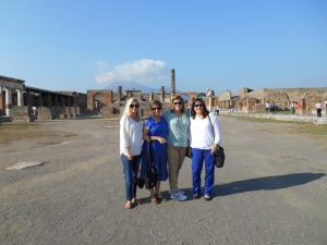 My mom, sister and I in Pompeii