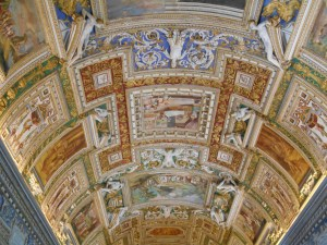 One of the many beautiful ceilings in the Vatican museum.