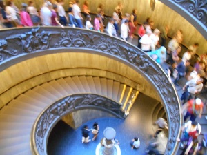 The spiral staircase leaving the Vatican museum.