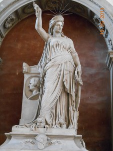 This is the first Statue of Liberty. It was created by a Italian artist and given to the French. The French gave it to the United States.