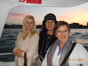 My Mom, Sister and Myself on a Water Bus in Venice.