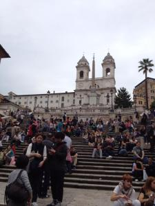 At the bottom, in front of the steps, is a fountain. These steps are always full of people.
