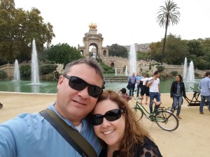 Selfie in the park in Barcelona, Spain